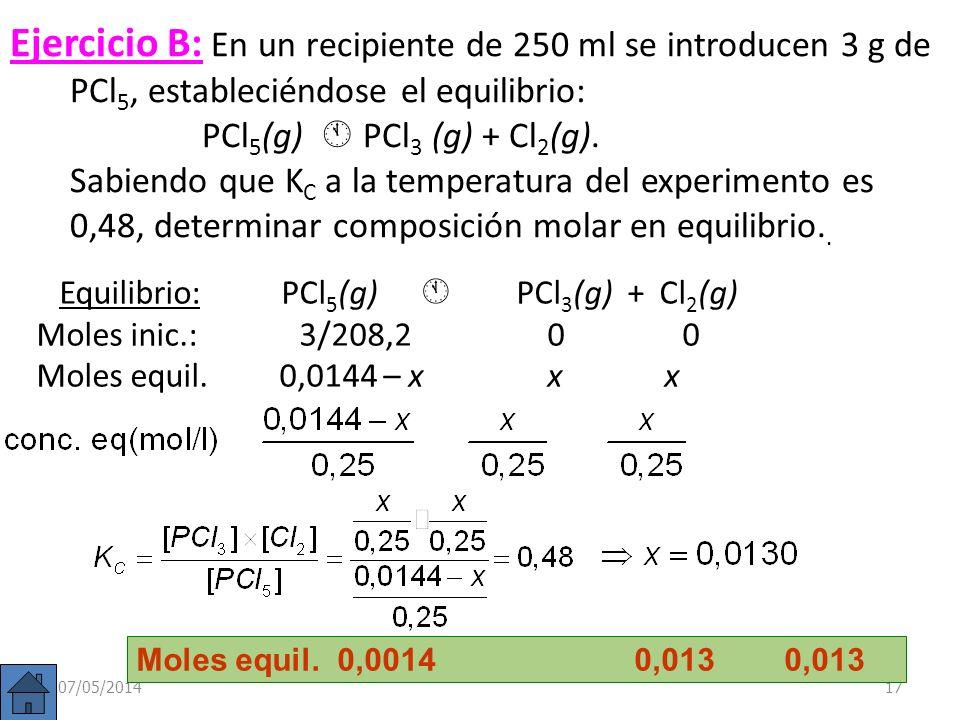 Ejercicio B: En un recipiente de 250 ml se introducen 3 g de PCl5, estableciéndose el equilibrio: PCl5(g)  PCl3 (g) + Cl2(g). Sabiendo que KC a la temperatura del experimento es 0,48, determinar composición molar en equilibrio..