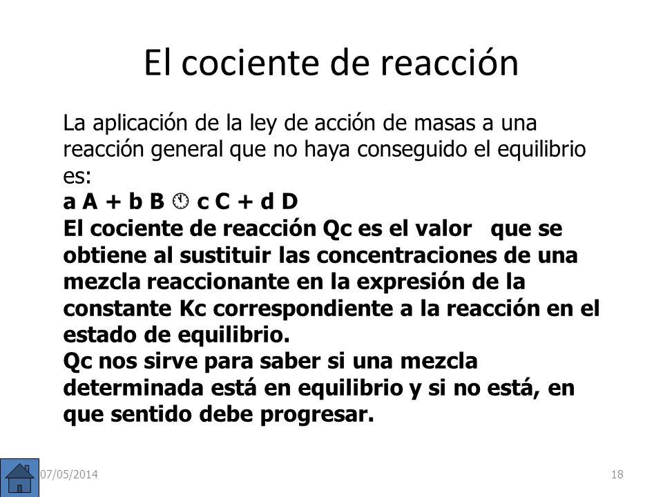 El cociente de reacción