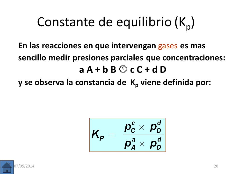 Constante de equilibrio (Kp)
