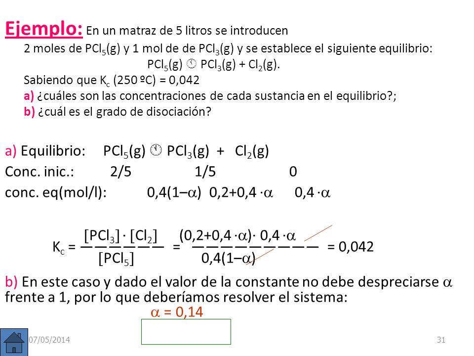 Ejemplo: En un matraz de 5 litros se introducen 2 moles de PCl5(g) y 1 mol de de PCl3(g) y se establece el siguiente equilibrio: PCl5(g)  PCl3(g) + Cl2(g). Sabiendo que Kc (250 ºC) = 0,042 a) ¿cuáles son las concentraciones de cada sustancia en el equilibrio ; b) ¿cuál es el grado de disociación