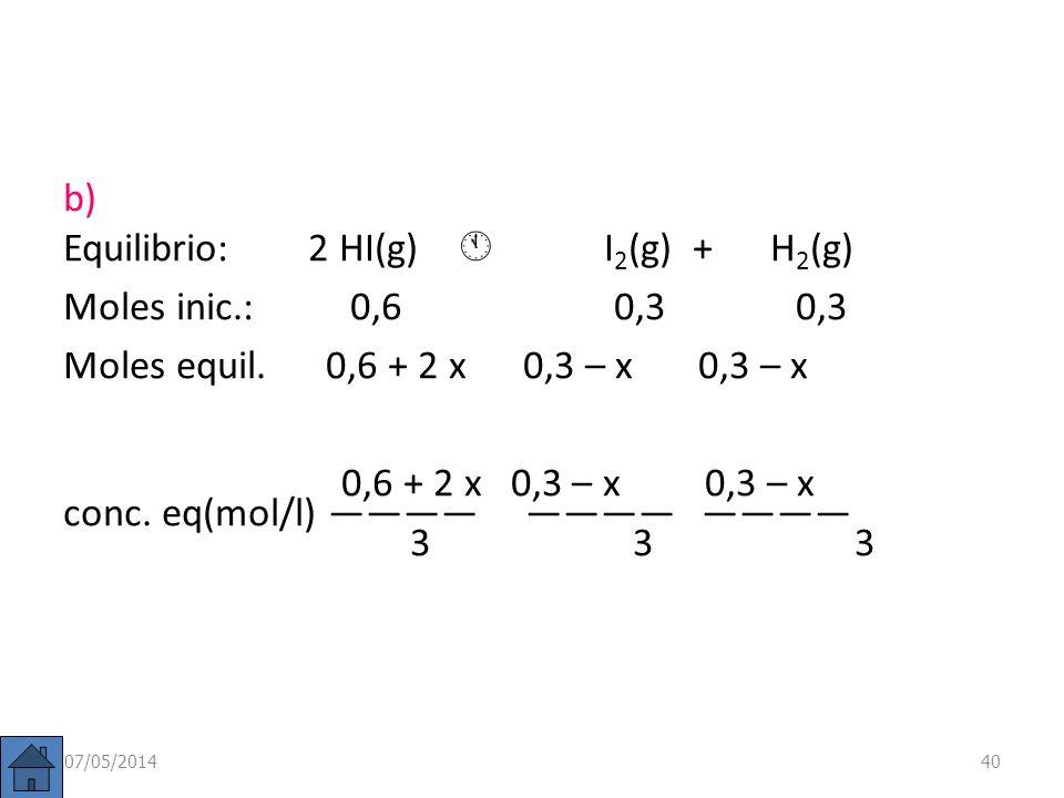 Equilibrio: 2 HI(g)  I2(g) + H2(g) Moles inic.: 0,6 0,3 0,3