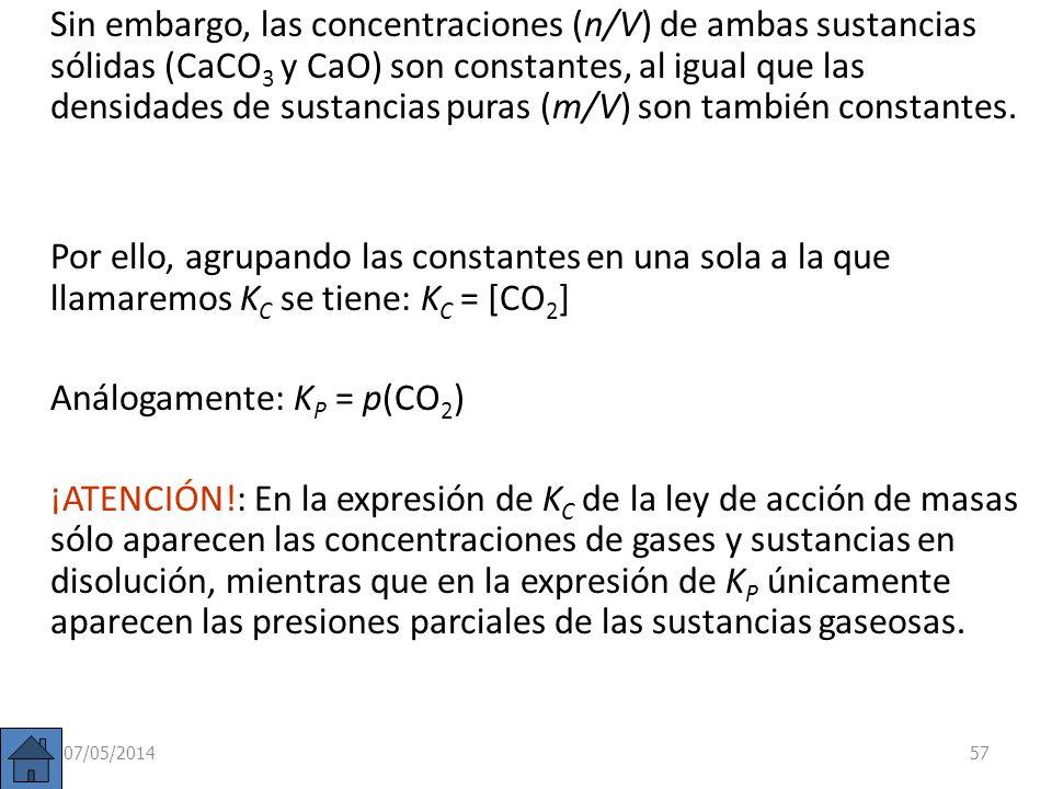 Análogamente: KP = p(CO2)
