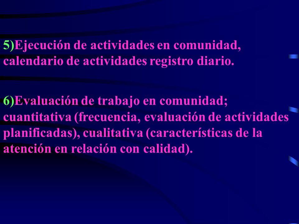 5)Ejecución de actividades en comunidad, calendario de actividades registro diario.