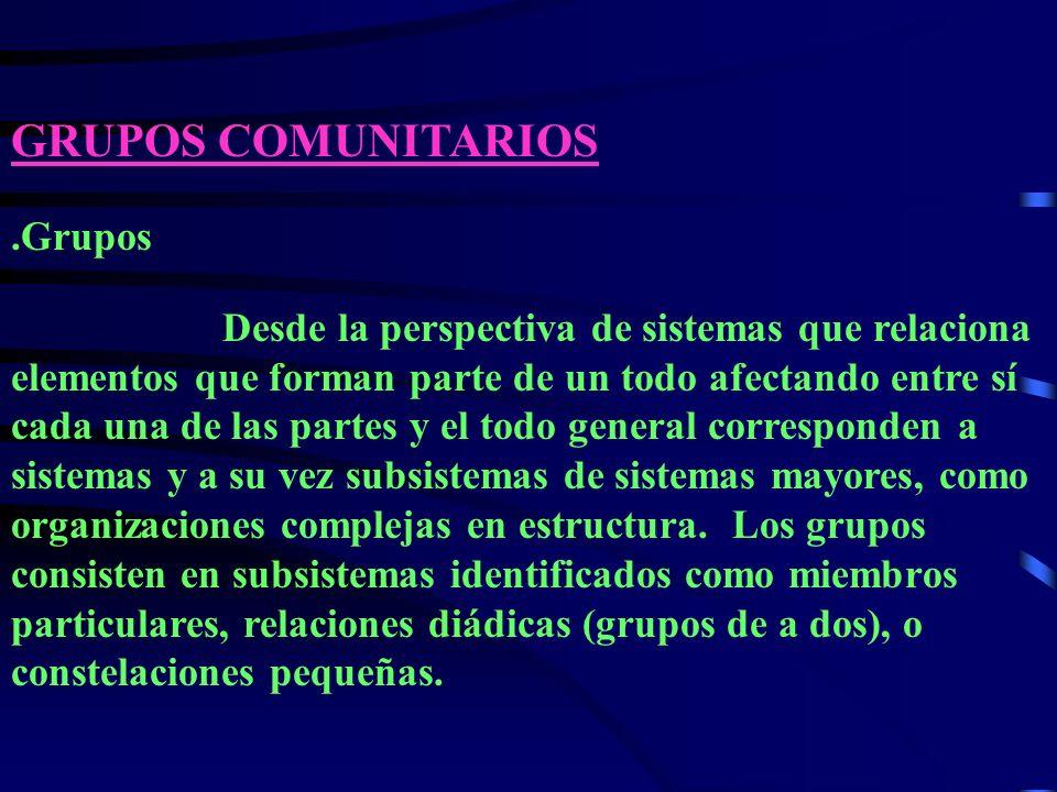 GRUPOS COMUNITARIOS .Grupos