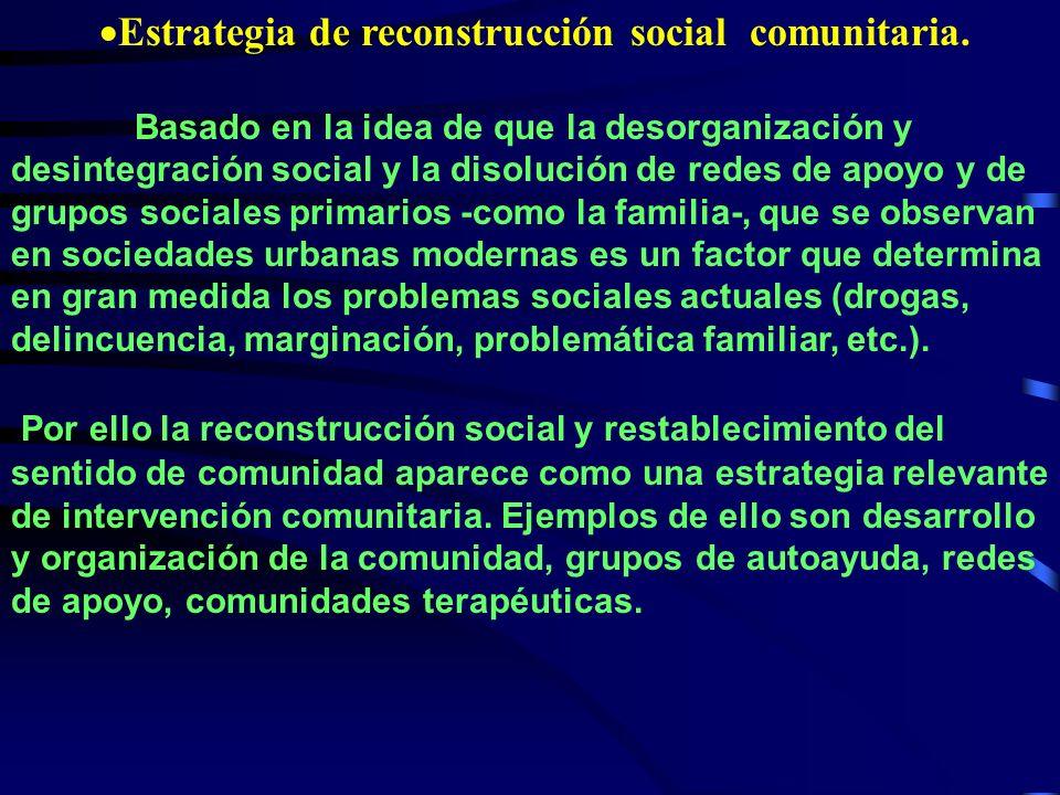 Estrategia de reconstrucción social comunitaria.