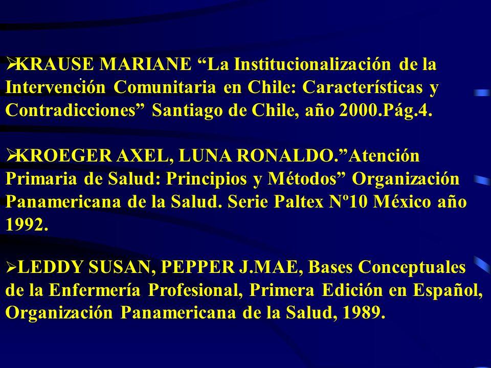 KRAUSE MARIANE La Institucionalización de la Intervención Comunitaria en Chile: Características y Contradicciones Santiago de Chile, año 2000.Pág.4.