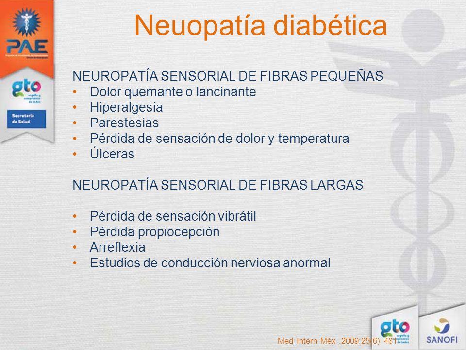 Neuopatía diabética NEUROPATÍA SENSORIAL DE FIBRAS PEQUEÑAS