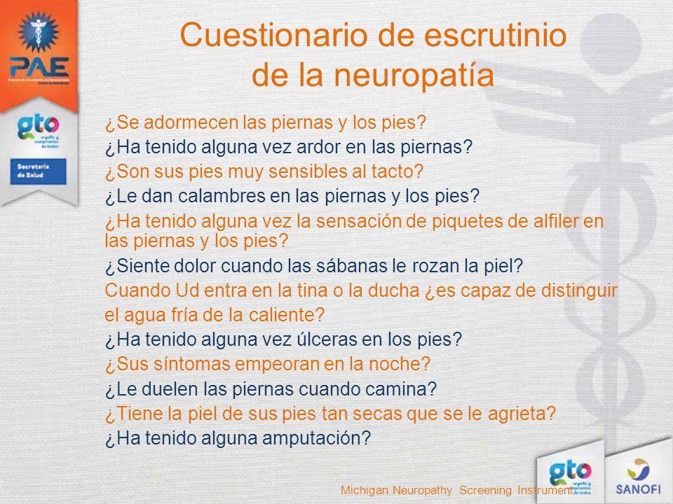 Cuestionario de escrutinio de la neuropatía