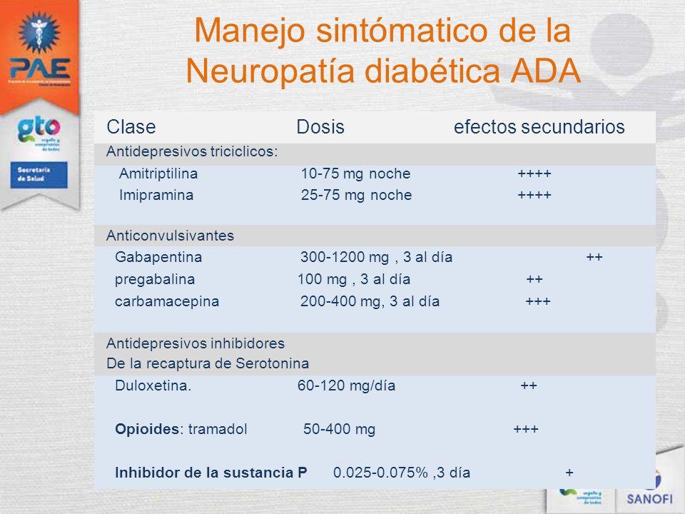 Manejo sintómatico de la Neuropatía diabética ADA