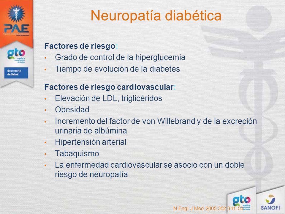 Neuropatía diabética Factores de riesgo: