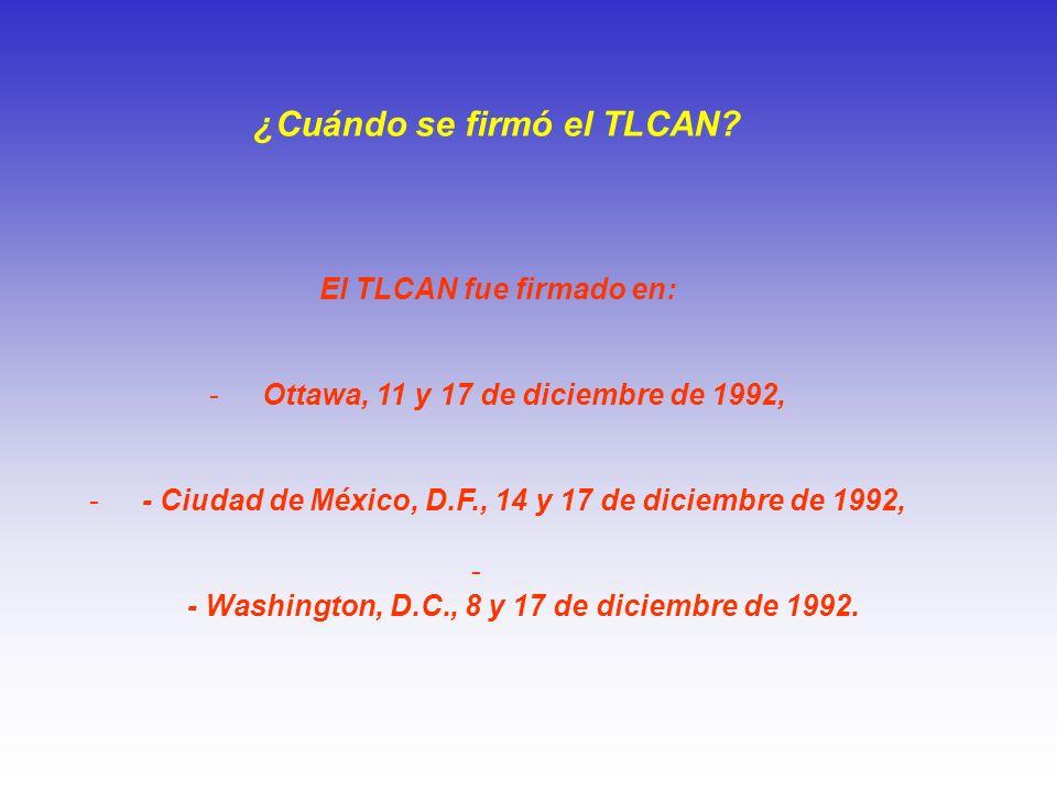 ¿Cuándo se firmó el TLCAN