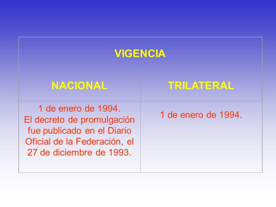 VIGENCIA NACIONAL TRILATERAL