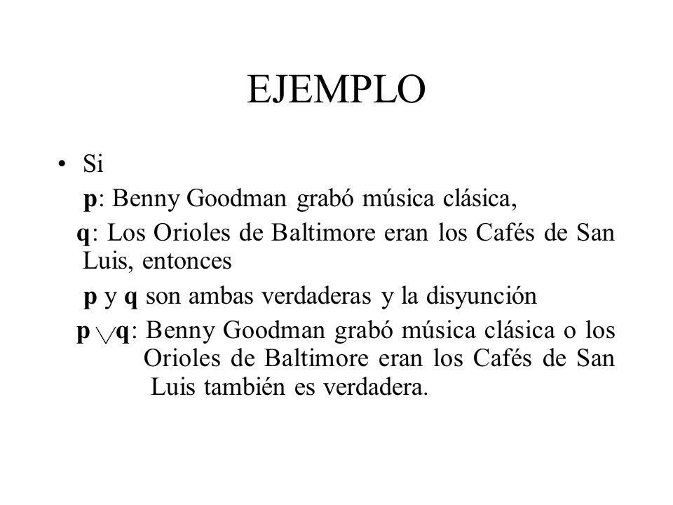 EJEMPLO Si p: Benny Goodman grabó música clásica,