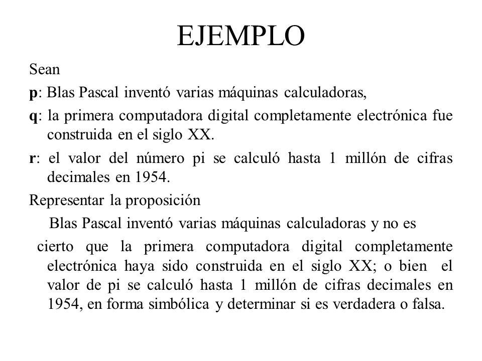 EJEMPLO Sean p: Blas Pascal inventó varias máquinas calculadoras,