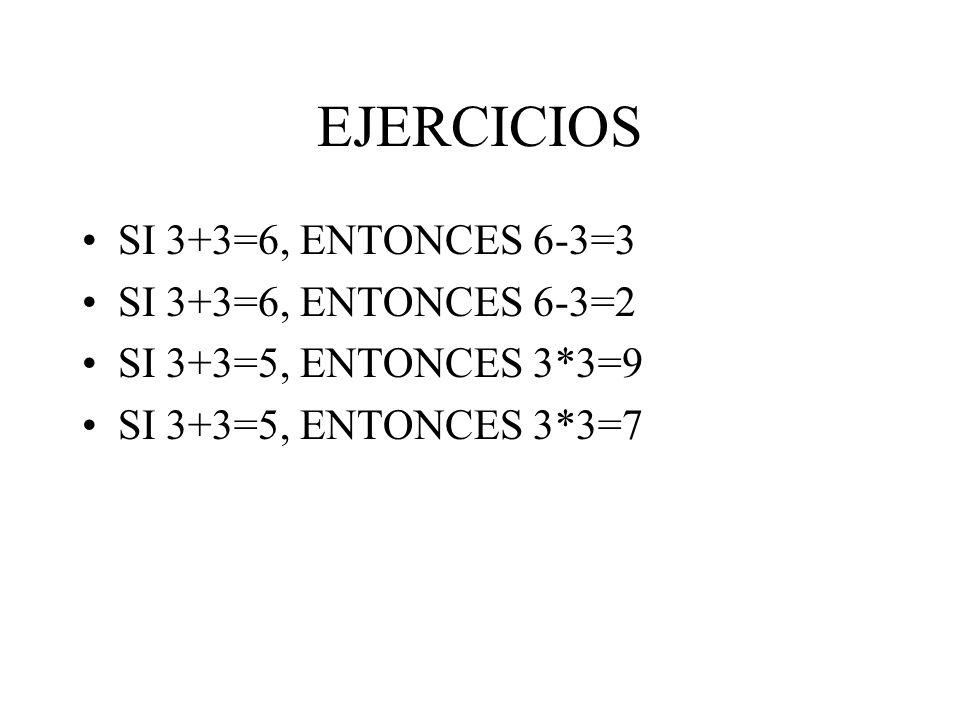 EJERCICIOS SI 3+3=6, ENTONCES 6-3=3 SI 3+3=6, ENTONCES 6-3=2