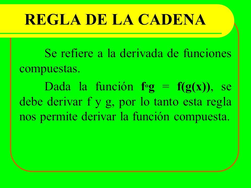 REGLA DE LA CADENA Se refiere a la derivada de funciones compuestas.