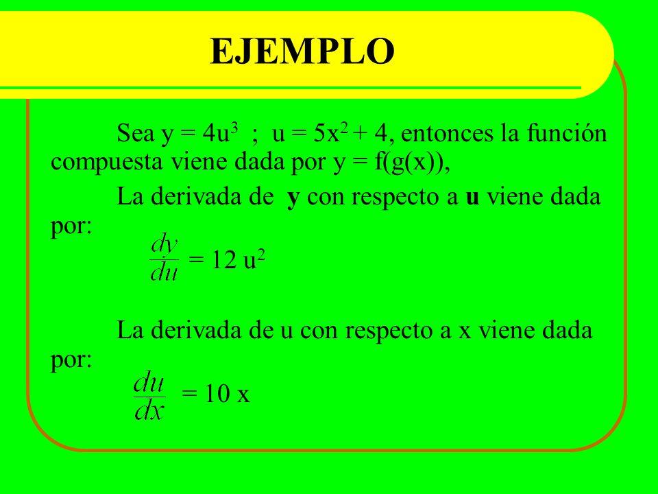EJEMPLO La derivada de y con respecto a u viene dada por: = 12 u2