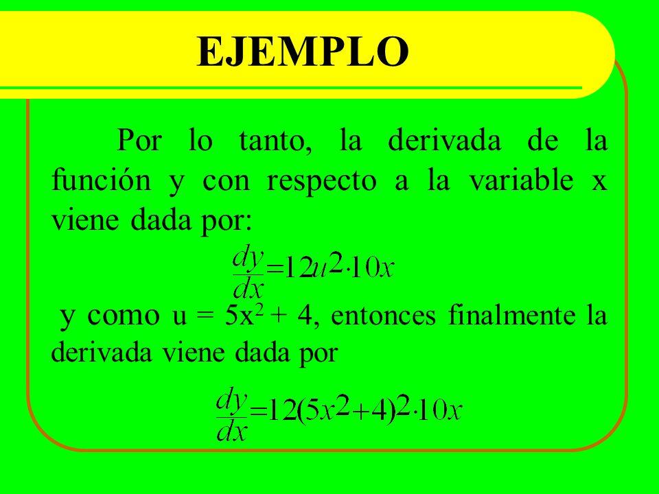 EJEMPLO Por lo tanto, la derivada de la función y con respecto a la variable x viene dada por: