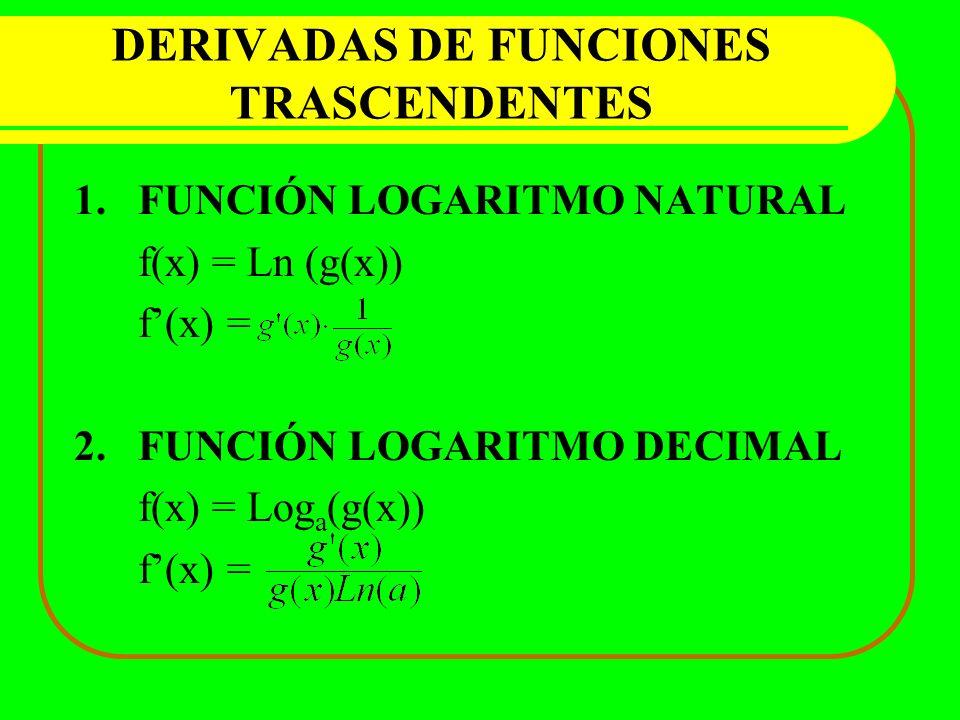 DERIVADAS DE FUNCIONES TRASCENDENTES