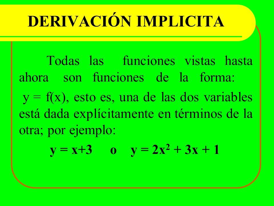 DERIVACIÓN IMPLICITA Todas las funciones vistas hasta ahora son funciones de la forma: