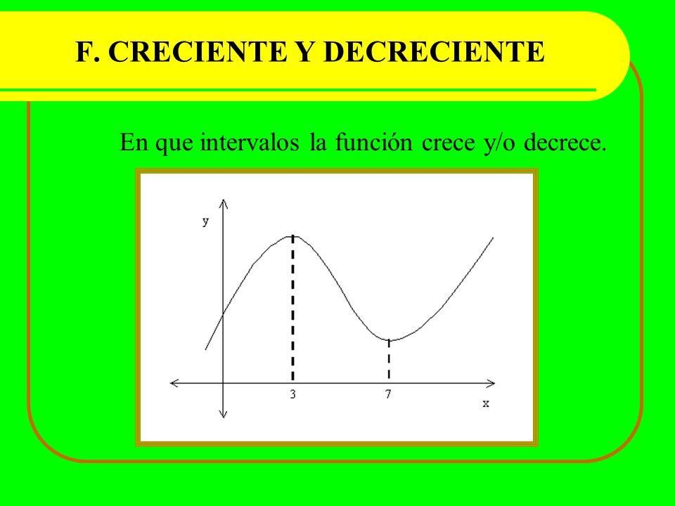 F. CRECIENTE Y DECRECIENTE