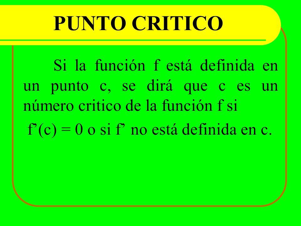 PUNTO CRITICO f'(c) = 0 o si f' no está definida en c.
