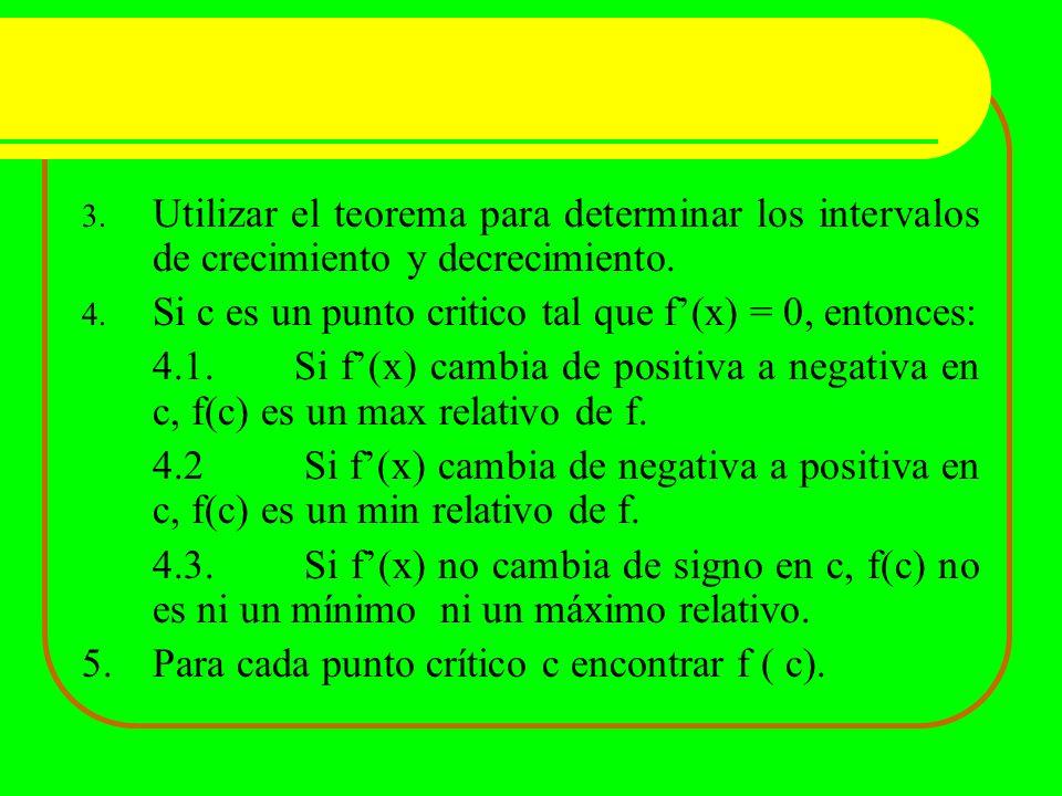Utilizar el teorema para determinar los intervalos de crecimiento y decrecimiento.