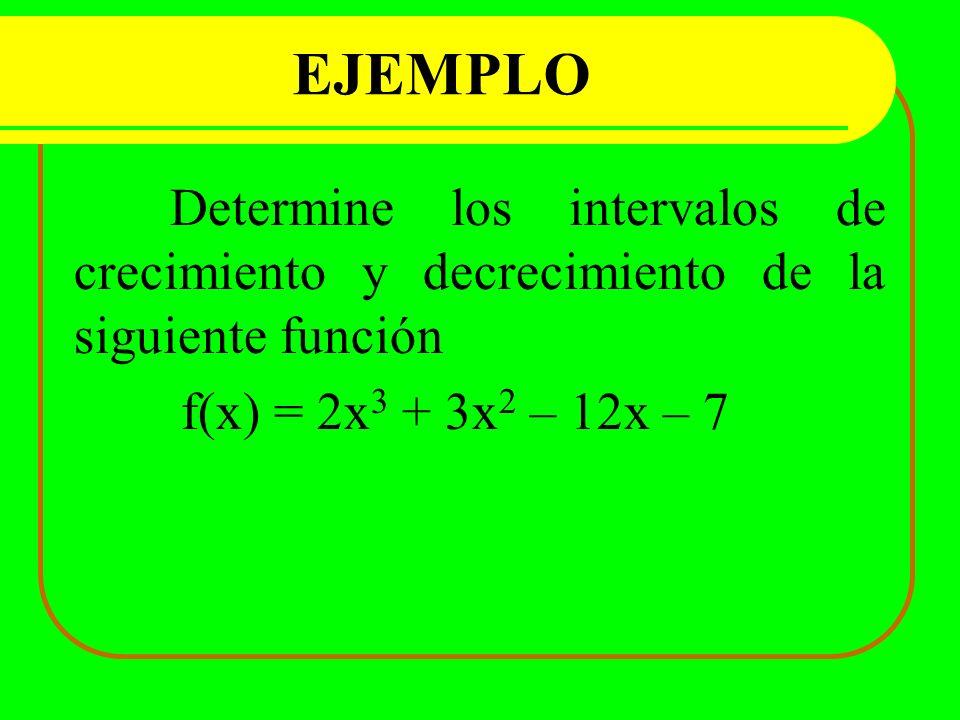 EJEMPLO Determine los intervalos de crecimiento y decrecimiento de la siguiente función.