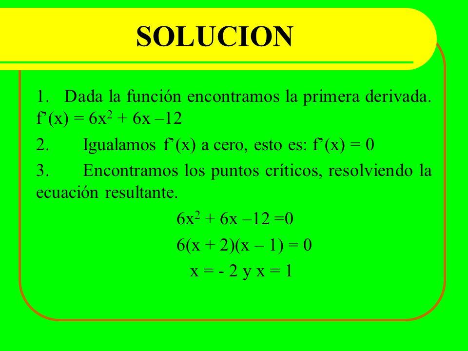 SOLUCION 1. Dada la función encontramos la primera derivada. f'(x) = 6x2 + 6x –12. 2. Igualamos f'(x) a cero, esto es: f'(x) = 0.