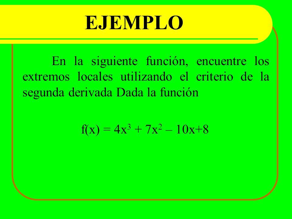 EJEMPLO En la siguiente función, encuentre los extremos locales utilizando el criterio de la segunda derivada Dada la función.