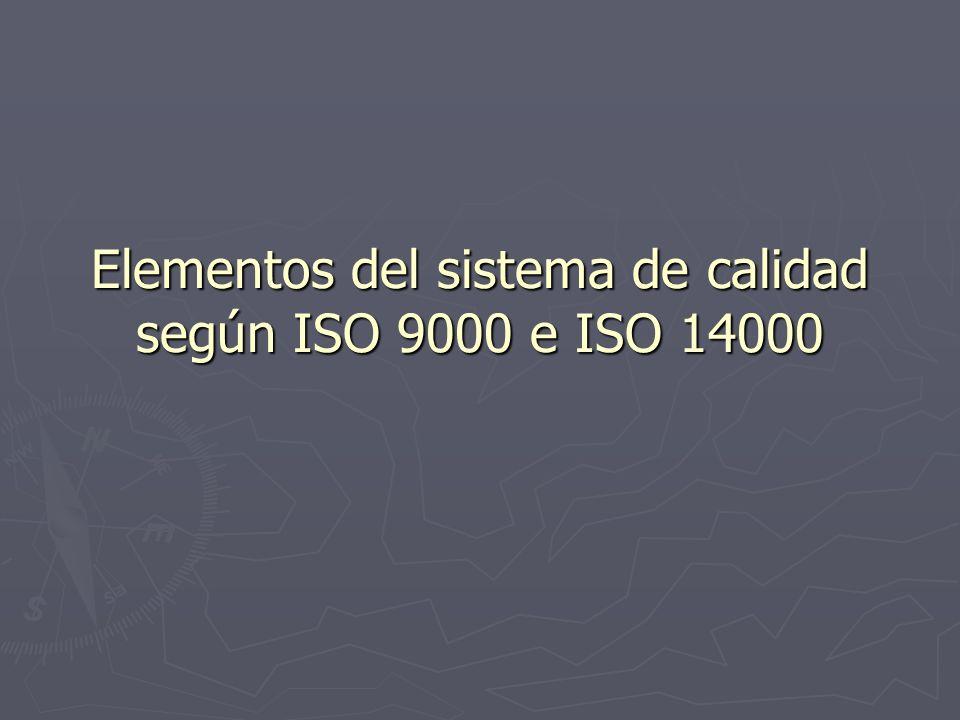 Elementos del sistema de calidad según ISO 9000 e ISO 14000