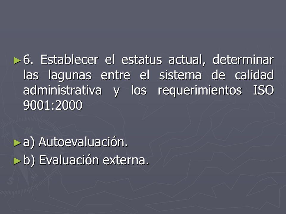 6. Establecer el estatus actual, determinar las lagunas entre el sistema de calidad administrativa y los requerimientos ISO 9001:2000