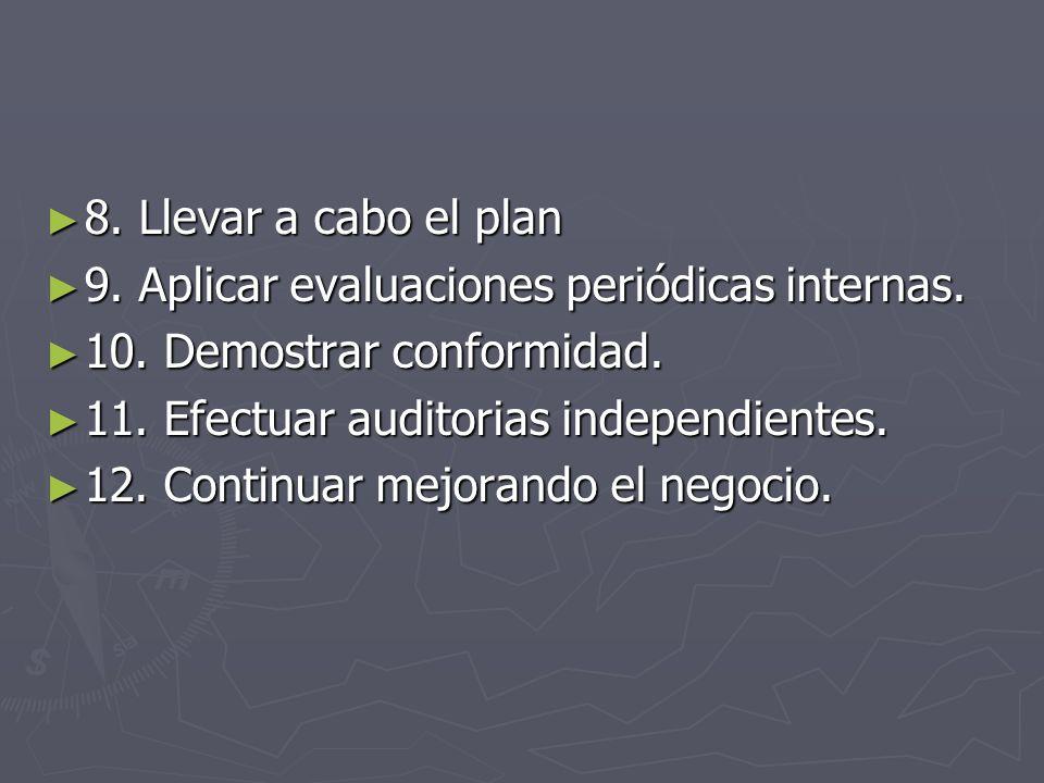 8. Llevar a cabo el plan 9. Aplicar evaluaciones periódicas internas. 10. Demostrar conformidad. 11. Efectuar auditorias independientes.