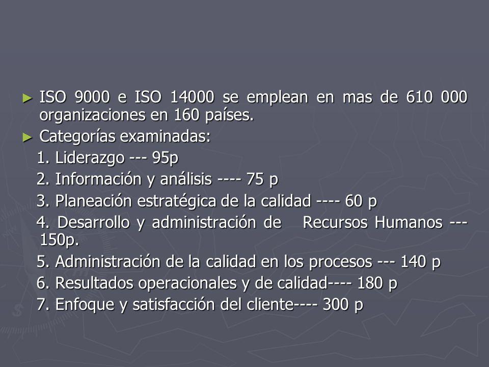 ISO 9000 e ISO 14000 se emplean en mas de 610 000 organizaciones en 160 países.
