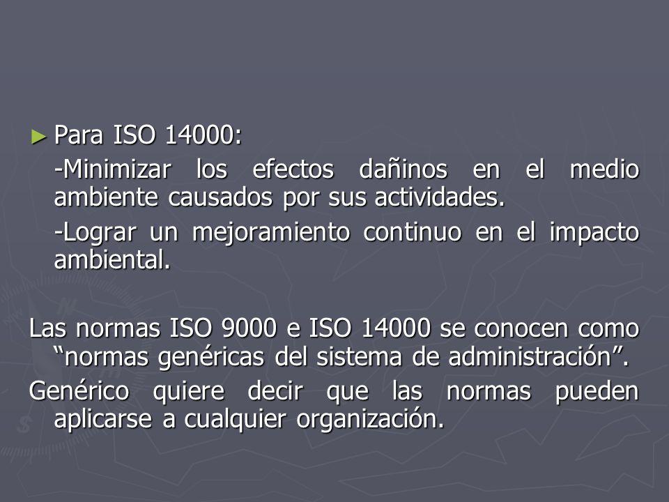 Para ISO 14000: -Minimizar los efectos dañinos en el medio ambiente causados por sus actividades.