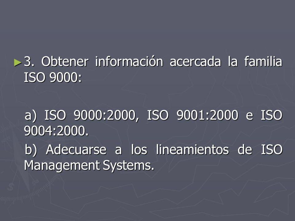 3. Obtener información acercada la familia ISO 9000: