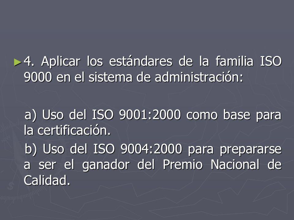 4. Aplicar los estándares de la familia ISO 9000 en el sistema de administración: