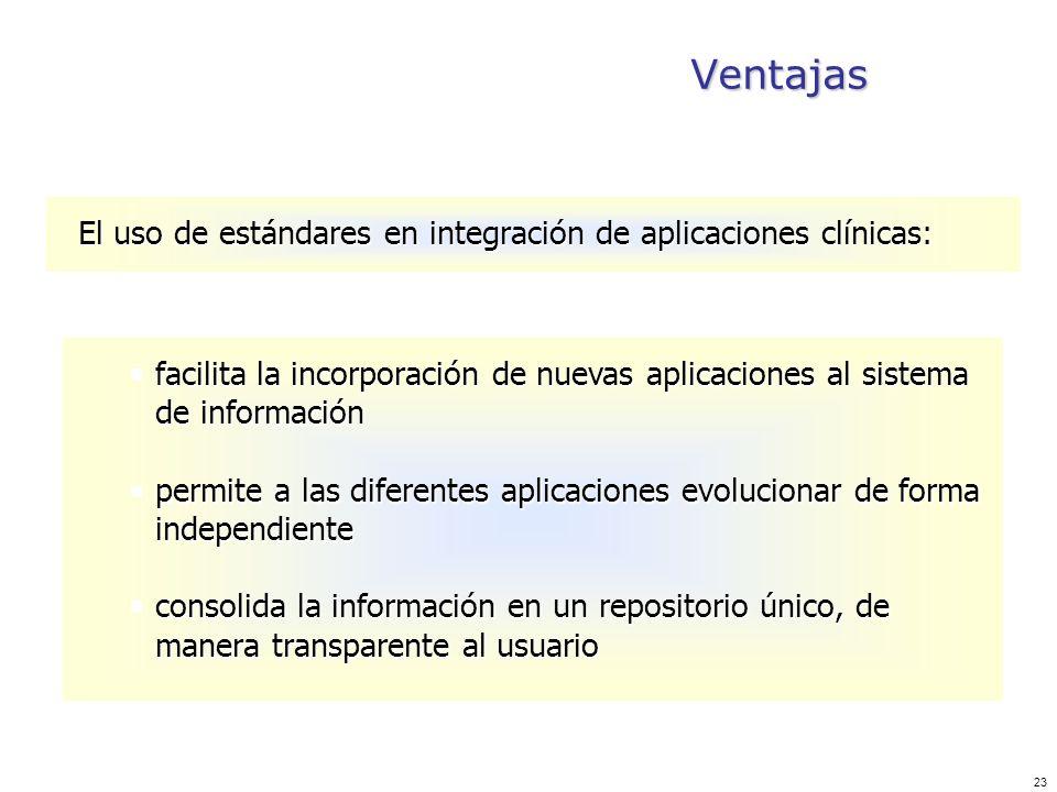 Ventajas El uso de estándares en integración de aplicaciones clínicas: