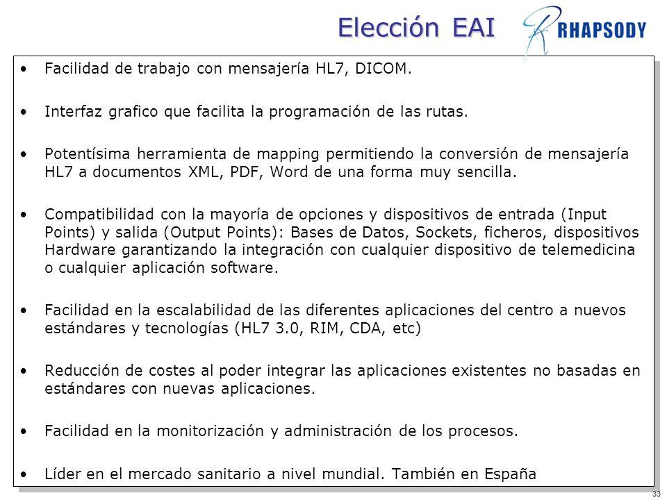 Elección EAI Facilidad de trabajo con mensajería HL7, DICOM.
