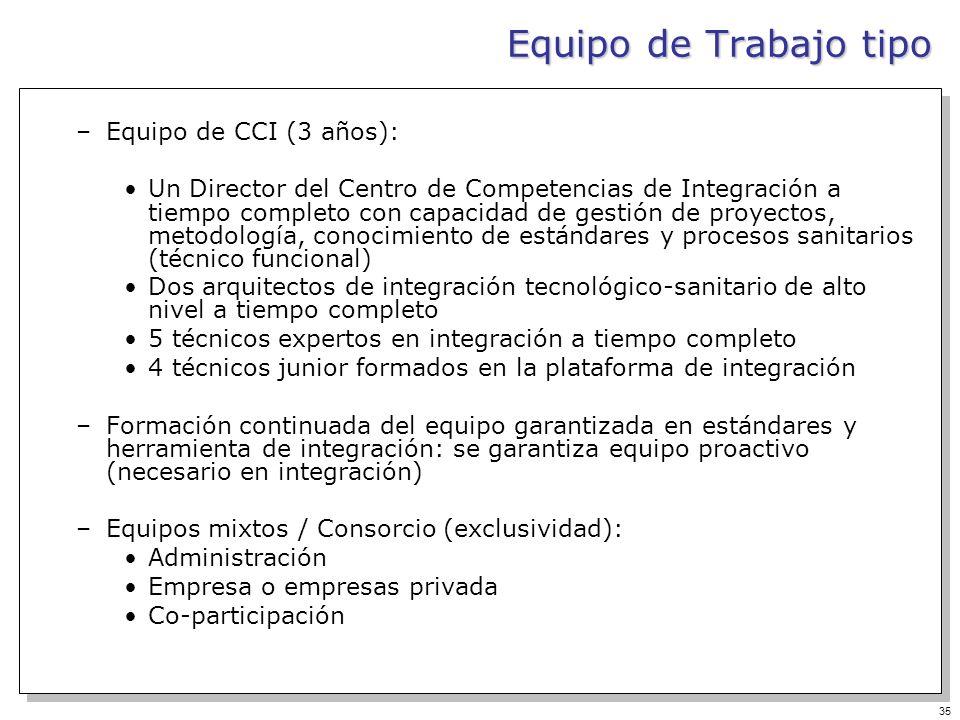 Equipo de Trabajo tipo Equipo de CCI (3 años):