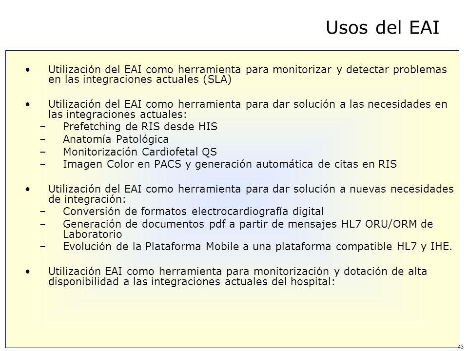 Usos del EAI Utilización del EAI como herramienta para monitorizar y detectar problemas en las integraciones actuales (SLA)