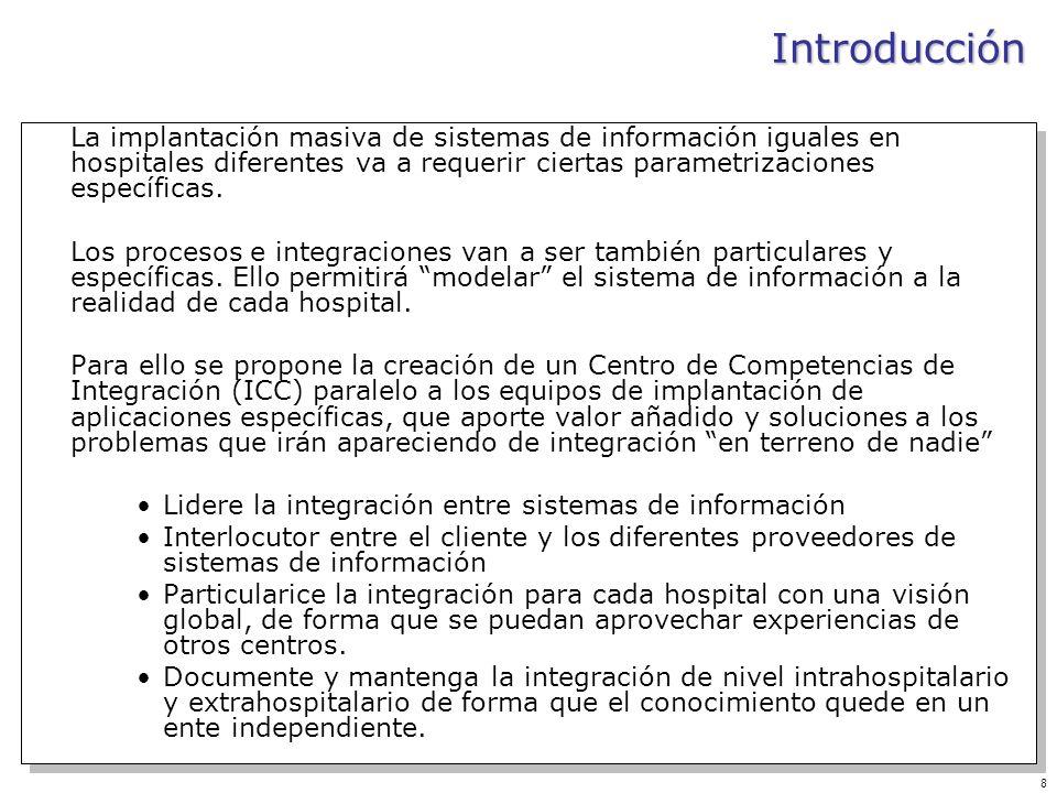 Introducción La implantación masiva de sistemas de información iguales en hospitales diferentes va a requerir ciertas parametrizaciones específicas.