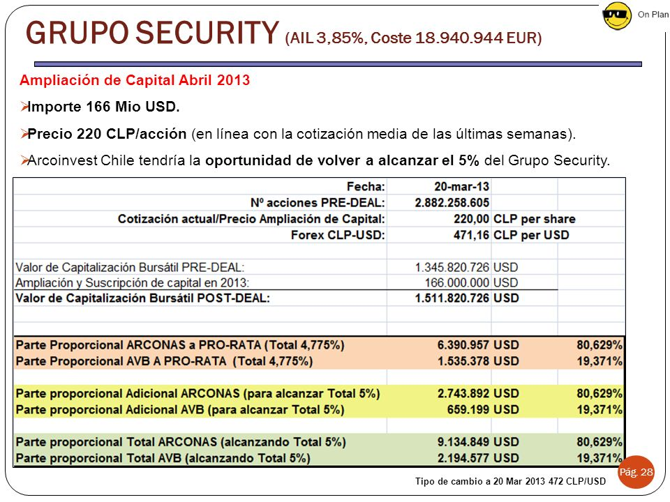 GRUPO SECURITY (AIL 3,85%, Coste 18.940.944 EUR)