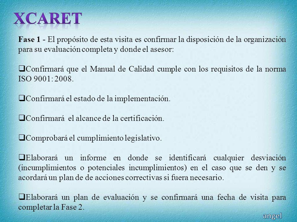 XCARET Fase 1 - El propósito de esta visita es confirmar la disposición de la organización para su evaluación completa y donde el asesor:
