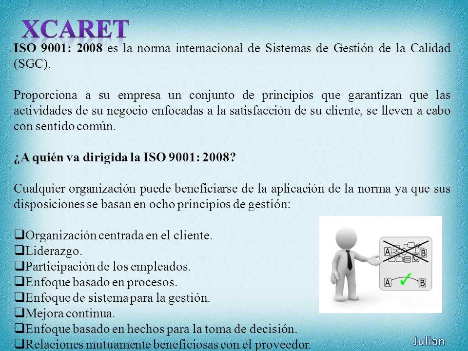 XCARET ISO 9001: 2008 es la norma internacional de Sistemas de Gestión de la Calidad (SGC).