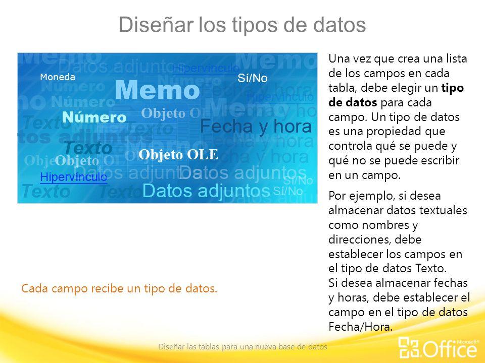 Diseñar los tipos de datos