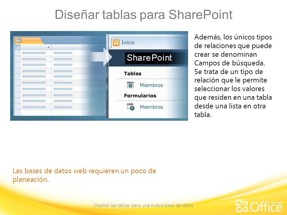 Diseñar tablas para SharePoint