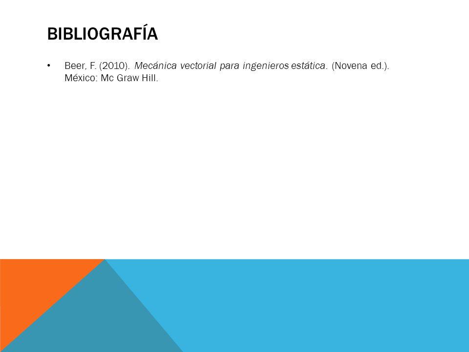 Bibliografía Beer, F. (2010). Mecánica vectorial para ingenieros estática.