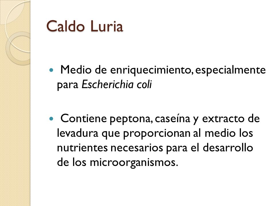 Caldo Luria Medio de enriquecimiento, especialmente para Escherichia coli.