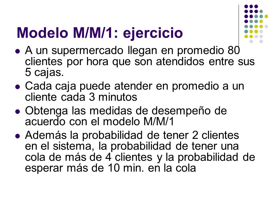 Modelo M/M/1: ejercicio